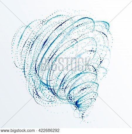 Dotted Particle Whirl Flowing Vector Abstract Background, Life Forms Bio Theme Microscopic Vortex De
