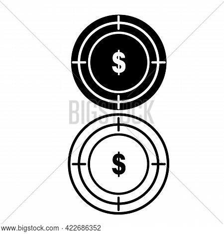 Investment Target Icon On White Background. Business Target Sign. Target Money Symbol. Focus Dollar