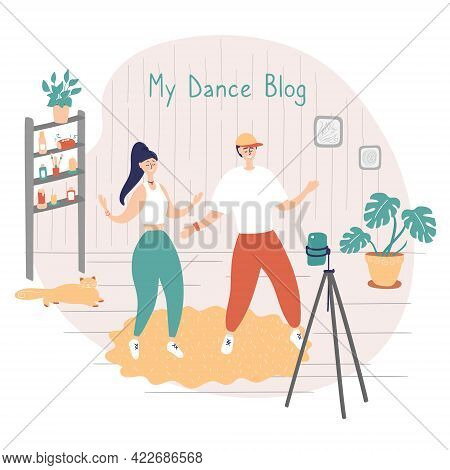 Dance Stars Are Recording Videos For Their Blog. Dance Challenge Concept. Young Man And Woman Learn