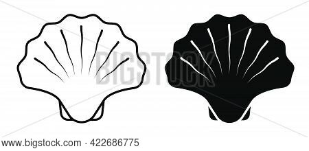 Closed Sea Shell Icon. Scallop, Edible Shellfish And Seafood. Simple Black And White Vector