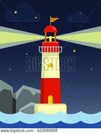 Marine Coastal Lighthouse Illuminates Night Sea. Safe Route In Shipping Area. Illustration In Cartoo