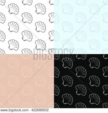Set Of Seamless Patterns With Closed Sea Shell Icon. Scallop, Edible Shellfish And Seafood. Ornament