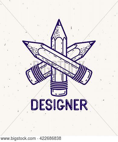 Three Crossed Pencils Vector Simple Trendy Logo Or Icon For Designer Or Studio, Creative Competition