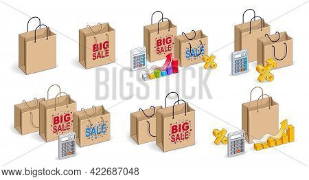 Shop Retail Sale Vector 3d Illustrations Set Isolated On White Background, Shopping Bags With Money