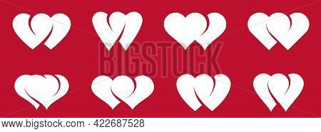 Double Two Hearts Vector Icons Or Logos Set, Wedding And Couple Concept Romantic Theme, Care And Tog