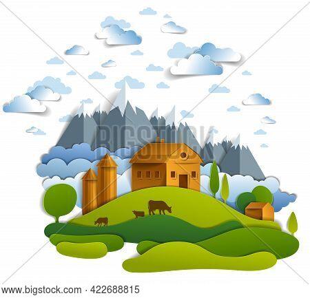 Farm In Scenic Landscape Of Fields And Trees, Mountains Peaks And Country Buildings, Clouds In Sky,