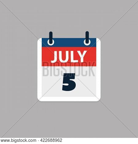 Calendar Page Design For Day July 5th, Usa Public Holiday After Independence Day In 2021 - Vector Il