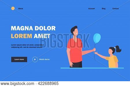 Cheerful Man Giving Air Balloon To Little Girl. Child, Father, Gift Flat Illustration. Fatherhood An