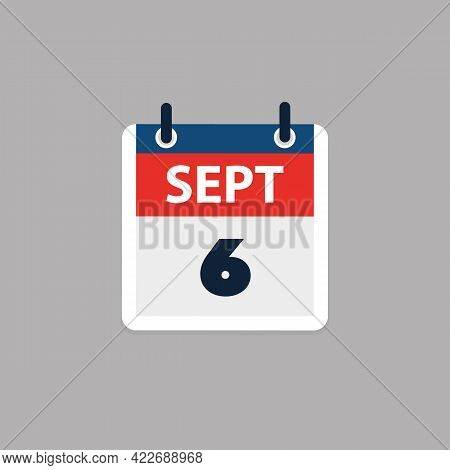 Calendar Page Design For Day September 6th, Usa Labor Day In 2021 - Vector Illustration