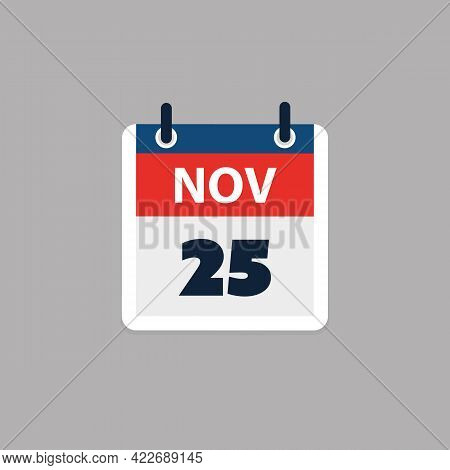 Calendar Page Design For Day November 25th, Usa Thanksgiving Day In 2021 - Vector Illustration