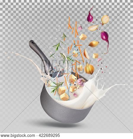 Preparation Of Milk Sauce In A Saucepan. Stewpan With A Splash Of Water, Cream, Milk With Onions Fal