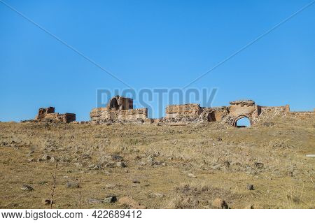 Panoramic View Onto Remains Of Medieval City Ani, Near Kars, Turkey. It's Included Walls, Towers, Ga