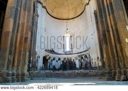 Interior Of Ancient Cathedral Of Ani: Columns, Archs & Altar. Located In Medieval City Ani, Near Kar