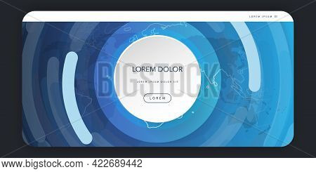 Web Design Elements - Header Or Banner Design With World Map And Circular Geometric Shapes - Poster,