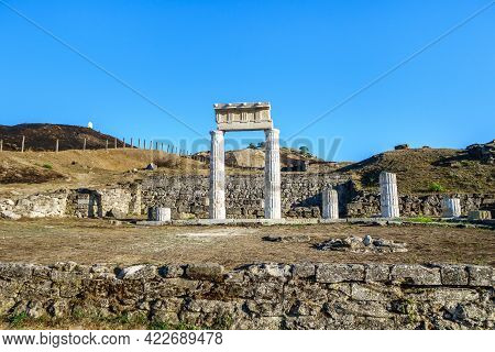Panorama Of Antique City Panticapaeum. Colonnade On Front Probably Was Temple Or Other Public Place.
