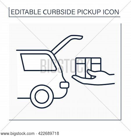Curbside Pickup Line Icon. Shipping Parcel Into Car Trunk. Store Associate Brings Pickup Order. Cont