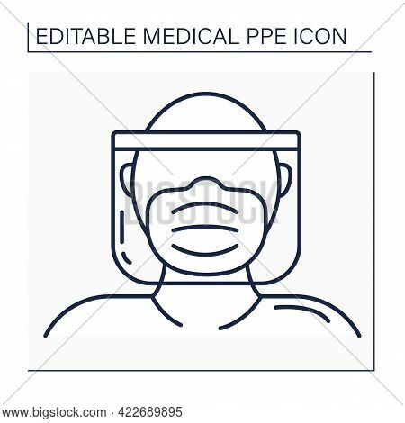 Full Protection Line Icon. Head, Mask And Shield. Personal Protective Equipment. Barrier Between Per