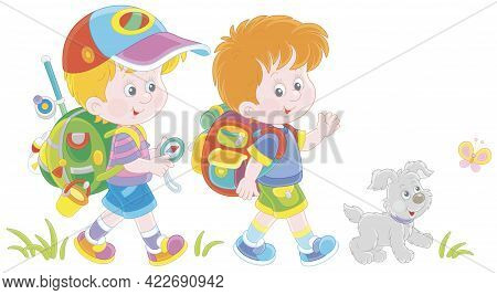 Cheerful Little Boys Backpackers With A Tourist Compass And Rucksacks, Friendly Smiling, Talking And