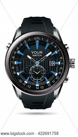 Realistic Vector Of Clock Watch Chronograph Grey Steel Black Dashboard Face White Number Text Blue D