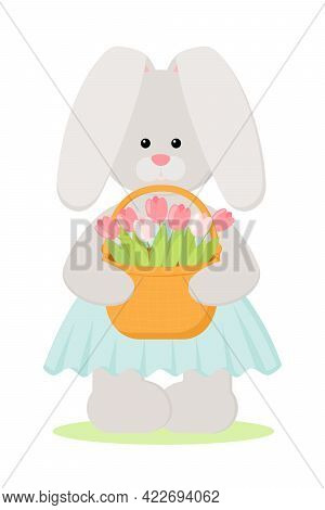 Easter Bunny Holds A Basket Of Tulips. Vector Illustration Of Cute Flat Bunny Character Isolated On