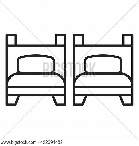 Icon Of Two Isolated Beds. Vector Symbol