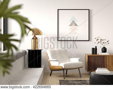 Minimalist Interior of modern living room 3 D rendering