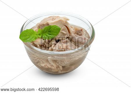Canned Tuna Chunk In Vegetable Oil With Glass Bowl Isolated On White Background  ,include Clipping P