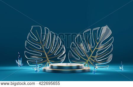 Podium Empty With Quartz Stone Crystals And Glass Monstera Leaf In Blue Composition For Modern Stage
