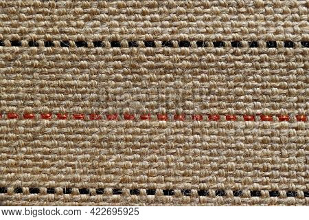 Jute Fabric Texture For Background. Background Of Very Coarse, Rough Fabric Woven Made Of Flax, Jute