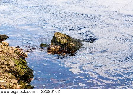 Slippery Mossy Rock In Blue Water Near The Coast. River Is Floating Calmly Around Stones Near Rocky