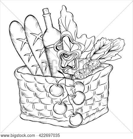 Woven Picnic Basket With Wine And Vegetables. Picnic Food In Basket, Hand Drawn Engraving Style Vect