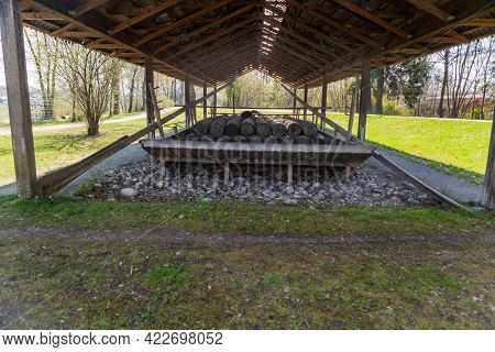 Rosenheim, Germany - 25 April 2021: Cement Slab From The 19th Century In The Public Outdoor Area Of