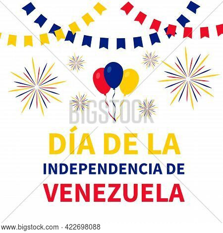 Venezuela Independence Day Lettering In Spanish. National Holiday Celebrated On July 5. Vector Templ