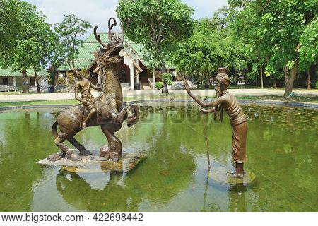 Rayong, Thailand - April 13, 2021: Sud Sakhon Ride On Nil Mangkorn Horse And Hermit Is Main Characte