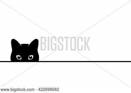 Cat Peeping On You. Black Cat Looking From Under The Surface. Symbol Pet. Vector Illustration