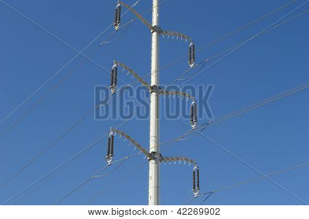 High voltage power turret silhouetted against the sky