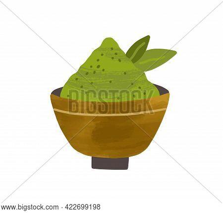 Heap Of Green Matcha Powder With Leaves In Bowl. Organic Natural Japanese Ingredient. Vegan Superfoo