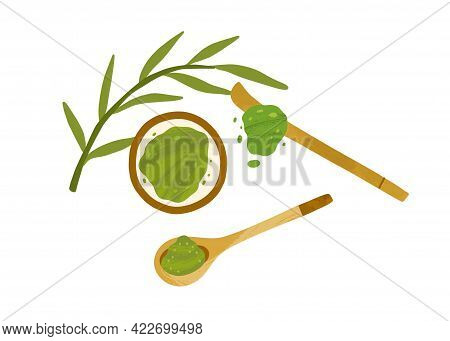 Japanese Green Matcha Powder In Bowl With Leaves And Wooden Spoon And Stick. Organic Natural Ingredi