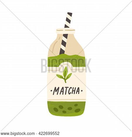 Glass Bottle Full Of Cold Green Matcha Drink. Refreshing Japanese Iced Tea Or Coffee With Straw. Tra