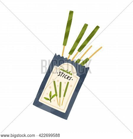 Japanese Flavoured Biscuits Wrapped In Matcha Powder. Asian Aroma Green Sticks In Open Sachet. Organ