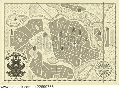 Hand-drawn Abstract City Map With Ornate Coat Of Arms, Wind Rose And Compass Sign In Vintage Style.