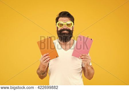 Studying With Pleasure. Have Fun. Learning With Happiness. Funny Cheerful Adult Man In Sunglasses Ho