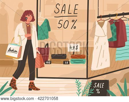 Young Happy Woman Walking In Shopping Mall, Looking At Showcases With Sale In Fashion Stores. Trendy