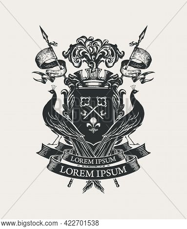 Vector Black And White Coat Of Arms With Peacocks, Crown, Spears, Flags, Ribbon, Knightly Shield Wit