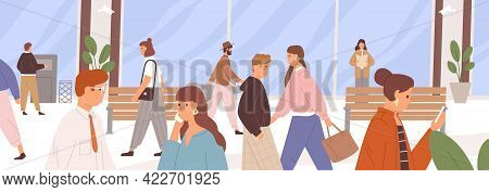 Different People Walking Along City Street. Daily Urban Life. Horizontal Cityscape With Human Traffi