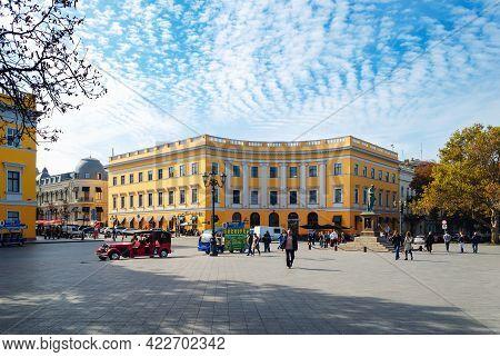 Odessa, Ukraine, September 24, 2019: Tourist Center Of Odessa. People Walking On Primorsky Boulevard