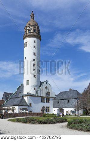 Frankfurt, Germany - April 24, 2021: Donjon Of Old Hoechst Castle In Frankfurt Under Blue Sky With P