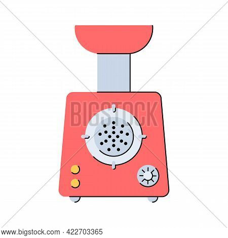Electric Meat Grinder. Mincer. Kitchen Appliances. Tool For Preparing Minced Meat. Flat Style. Isola
