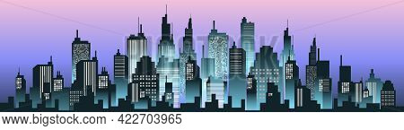 Urban Silhouette Panoramas In Night Sky. Vector Cityscape Illustration.