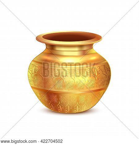 Golden Copper Pot For Holy Kalash Used In Indian Religious Festival Like Ghatashtapana, Navratri, Di